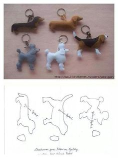 Felt dogs keychain patterns