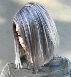 Gray Side-Parted Lob For Straight Hair