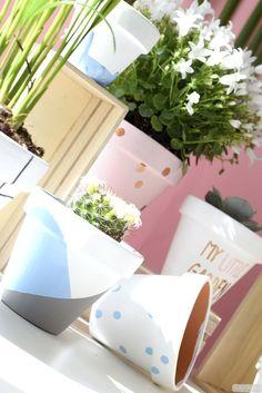 DIY déco en vidéo : pots de fleurs graphiques et petit jardin d'intérieur / DIY graphic flower pots in video // www.cbyclemence.com blog DIY // #cbyclemence #lapetiteepicerie