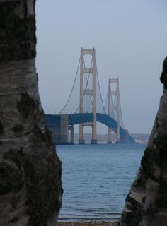 This is a picture I took of the 'Mighty Mac' on my way to Marquette which is in the very northern part of the Upper Peninsula of MI. The Mackinac Bridge connects the lower part of Michigan to the upper part. Love Bridge, Mackinac Bridge, Upper Peninsula, Great Shots, Great Lakes, Lake Michigan, Golden Gate Bridge, Vacation Spots, Bridges