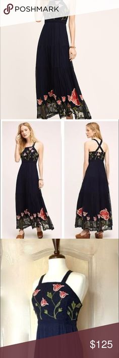 Anthropologie Floreat Tulipan Maxi So pretty! Navy lightweight gauze maxi dress with floral embroidery. Like new! Anthropologie Dresses Maxi