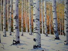 """""""Birches On A Slope"""" by Shain Bard"""