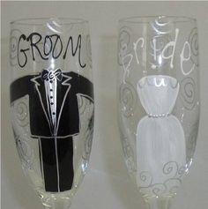 Bride and Groom Glasses  Cricut  ideal
