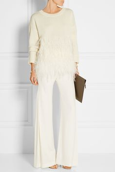 ELIZABETH AND JAMES Feather-trimmed cotton-blend sweater  $485.00 https://www.net-a-porter.com/products/626549