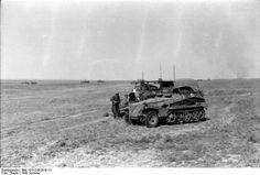 Two German halftrack crews compare notes. Summer, 1942.