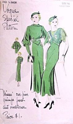 1930s Stunning Art Deco Dress Pattern Vogue Special Pattern S-3608 Guimpe Frock and Overblouse Two Sleeve Styles Day or Evening Dress Just Gorgeous Bust 34 Vintage Sewing Pattern