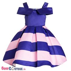 Stylish Stripes Pink & Blue Kids Dress