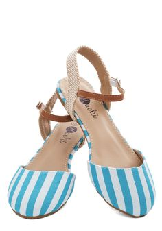 Cape Hatteras Flat in Sky. Reconnect with family, and recenter yourself, as you peruse pristine coastlines and quaint villages in these striped flats. #blue #modcloth