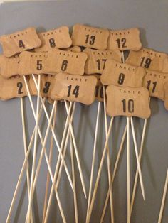 Wood table numbers 1