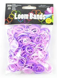 cool Touch of Nature 500 Value Pack Loom Bands, Assorted, Includes 25 Plastic Claps, Purple/Light Purple/White