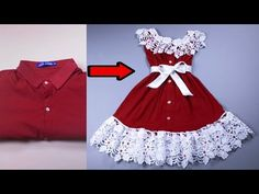 The easiest way to turn a shirt into a dress - Dresses for Work Baby Frock Pattern, Frock Patterns, Baby Dress Patterns, Dress Making Patterns, Sewing Patterns, Baby Frocks Designs, Kids Frocks Design, Frocks For Girls, Dresses Kids Girl