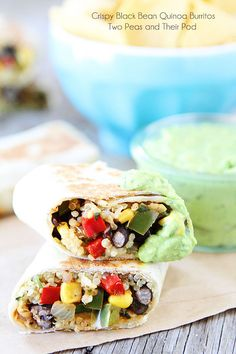 Crispy Black Bean Quinoa Burritos with Avocado Dipping Sauce on twopeasandtheirpod.com #recipe