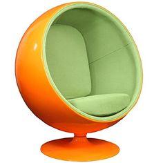 LexMod Eero Aarnio Style Ball Chair In Orange Exterior Wi... Https:/