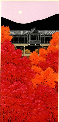 Autumn view at Tofukuji, Kyoto. Woodblock print by 加藤晃秀 (Teruhide Kato). From set of prints at http://www.hanga.co.jp/shopbrand/002/003/X/