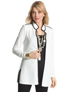 Make an entrance in this sleek white jacket. Bold black trim creates dramatic contrast, while wrinkle-resistant fabric makes it effortlessly stylish.   Open front.  Length: 31