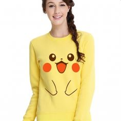 Pocket Monster Pikachu sweatshirts for girls cute cosplay clothes yellow