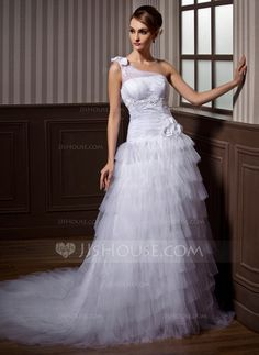 Wedding Dresses - $238.99 - A-Line/Princess One-Shoulder Chapel Train Satin Tulle Wedding Dress With Ruffle Lace Beading Flower(s) (002012004) http://jjshouse.com/A-Line-Princess-One-Shoulder-Chapel-Train-Satin-Tulle-Wedding-Dress-With-Ruffle-Lace-Beading-Flower-S-002012004-g12004