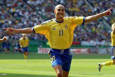 Henrik Larsson of Sweden celebrates scoring the first goal during the Sweden v Senagal, World Cup Second Round match played at the Oita Big Eye Stadium, Oita, Japan on June 16, 2002. Senegal won 2-1 after extra time.