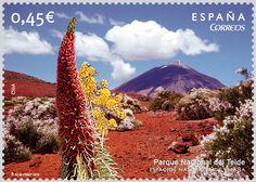 Sello Parque Nacional del Teide. La Orotava, Tenerife. Islas Canarias.