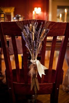 DIY Harvest Wedding Chair Back; photo by Mabyn Ludke Photography