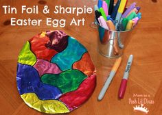 tin foil & sharpie Easter egg art - so easy & fun for kids of all ages