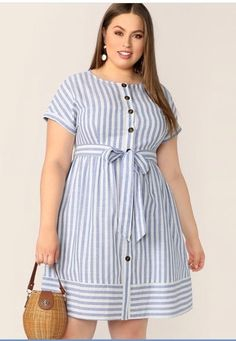 To find out about the Plus Button Front Striped Belted Dress at SHEIN, part of our latest Plus Size Dresses ready to shop online today! Short African Dresses, Latest African Fashion Dresses, Curvy Fashion, Look Fashion, Fashion Outfits, Plus Size Dresses, Plus Size Outfits, Plus Size Shirt Dress, Looks Plus Size