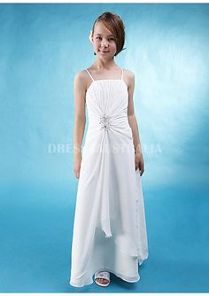 Cheap and Australia White Spaghetti Straps A-line Chiffon Floor Length Junior Bridesmaid Dresses from Dresses4Australia.com.au