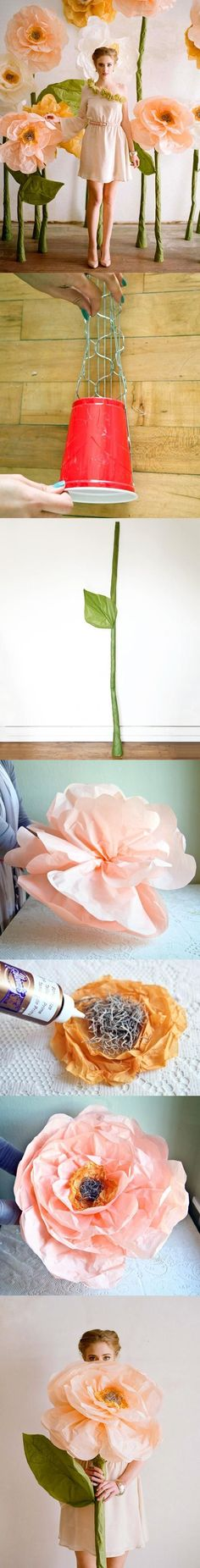 stalagmite technique?  could vary the size, but tissue paper is so much cheaper than the spray foam.  Not necessarily flowers but something else in giant size? - Giant Tissue Flower | Tutorial (some steps):