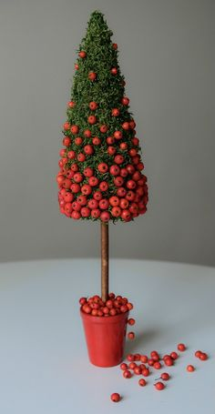Prometheus: Simple moss topiary studded with what appears to be Pyracantha fruit.Beautiful little tree with small berries on an evergreen baseA bit bigger pot in brown, gold or black would make it pop more. Black Christmas Trees, Diy Christmas Tree, Modern Christmas, Simple Christmas, Christmas Holidays, Christmas Ornaments, Xmas Tree, Xmas Decorations, Christmas Inspiration
