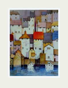 Polruan vista, Watercolour painting by Malcolm Coils | Artfinder