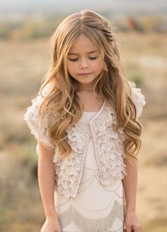 Elegant and classy, this lovely blush dress features beaded embellishment that will certainly add sway to any walk. This is the dress for the inner dancer in every fashionista! Little Girl Outfits, Cute Little Girls, Toddler Outfits, Kids Outfits, Peach Flower Girl Dress, Flower Girl Dresses, Blush Dresses, Girls Dresses, Ruffles