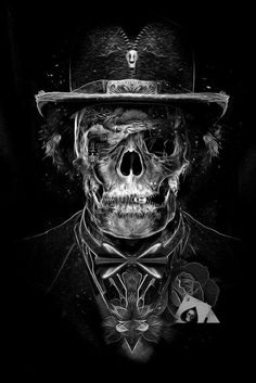 Love the zip in the top hat of this skull man!