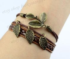 Three wishes leaf bracelet charm branch brown by luckystargift, $3.99
