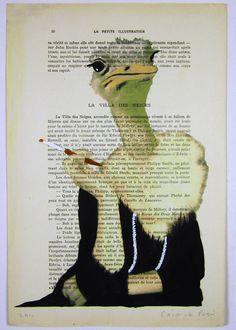 Jetset ostrich - ORIGINAL ARTWORK Mixed Media, Hand Painted on 1920 famous Parisien Magazine 'La Petit Illustration' by Coco De Paris