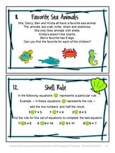 Summer math brain teasers from SUMMER MATH GAMES PUZZLES AND BRAIN TEASERS by Games 4 Learning $