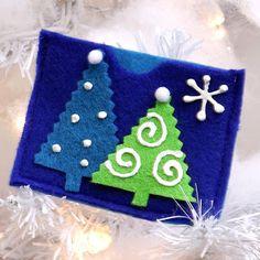 Tarjetas navideñas hechas a mano con fieltro ~ cositasconmesh