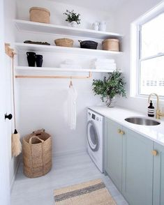 Browse laundry room ideas and decor inspiration for small spaces. Custom laundry rooms and closets, including utility room organization & storage ideas. Laundry Room Design, Laundry In Bathroom, Modern Laundry Rooms, Laundry Decor, Basement Laundry, Modern Room, Laundry Basket, Laundry Room Small, Laundry Room Art