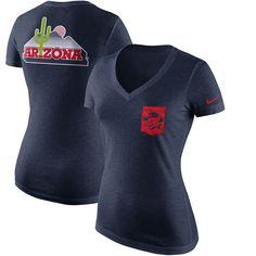 Arizona Wildcats Nike Women's Pocket Tri-Blend Mid V-Neck T-Shirt - Navy - $35.99