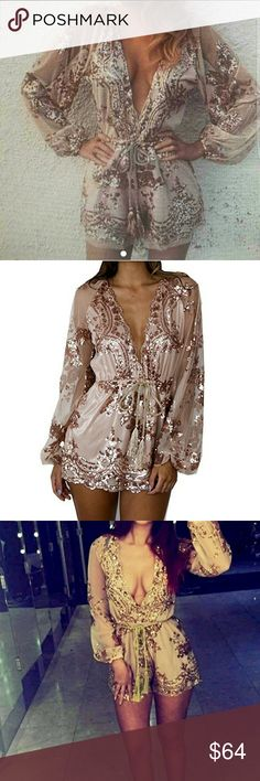 Rose Gold Sequin Romper Sheer sleeves and dazzling rose gold sequin patterns all over. This romper is GORGEOUS and sure to turn heads! The waist band is elastic to fit any figure and the sleeves are loose to fit comfortably.  This is brand new with tags, ordered online but unfortunately was too small for me.  This is a size medium but if you are larger in the hip area like I am, this may be too small. The bottom half fits more for a size 0 - 6. Pants Jumpsuits & Rompers