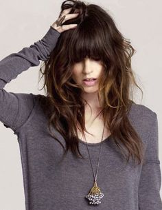 messy layers and bangs. If I had long hair it would be like this. Perfectly messy.