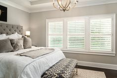Custom Hardwood Plantation Shutters with louvers grace this stunning Atlanta, Georgia Master Bedroom Shutters With Curtains, Bedroom Shutters, Indoor Shutters, White Shutters, Bedroom Blinds, Interior Shutters, Interior Windows, Bedroom Windows, Minimalist Room