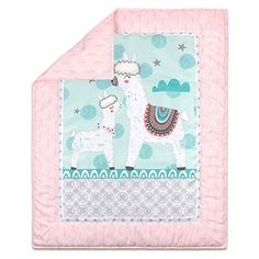 awesome The Peanutshell Llama Love Crib Bedding Sets for Baby Girls 3 Piece Nursery Set Crib Comforter Fitted Crib Sheet Crib Skirt Included 0 0 Your little one will love to snuggle up with The Peanutshell Little Llama Love Crib Bedding Set that features a reversible baby quilt, coordination crib sheet and bed skirt The reversible baby quilt comforter features a parent and baby llama with...