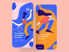 Shopping app onboarding by Zuairia Zaman for Ofspace Team on Dribbble Web Design, App Ui Design, Mobile App Design, Interface Design, User Interface, Graphic Design, Onboarding App, Ecommerce App, Android App Design