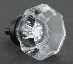 Clear Cut Glass Knob - Octagon w/ Oil Rubbed Bronze 36mm