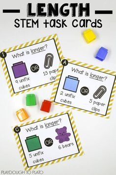 Linear Measurement STEM Cards – Playdough To Plato Free Linear Measurement Task Cards. Perfect activity for a STEM box or math center! A great summer activity for kindergarten and first grade! Measurement Kindergarten, Kindergarten Stem, Math Measurement, Teaching Math, Measurement Activities, First Grade Measurement, Length Measurement, Teaching Reading, E Learning