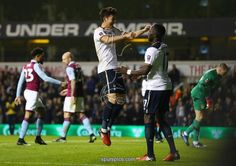LONDON, ENGLAND - JANUARY 08: Heung-Min Son of Tottenham Hotspur (C) celebrates scoring his sides second goal with Moussa Sissoko of Tottenham Hotspur (R) during The Emirates FA Cup Third Round match between Tottenham Hotspur and Aston Villa
