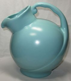 Vintage,Metlox California Pottery,Mission Bell Ball Pitcher,1942. Great turquoise color. I have this entire set of dishes.