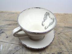 Seahorses White & Silver Tea Cup and Saucer by FaithAdamsCeramics