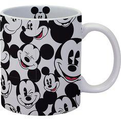 Amazon.com | Disney Mickey Head Toss Grey Ceramic Decal Mug 11 Oz: Coffee Cups & Mugs