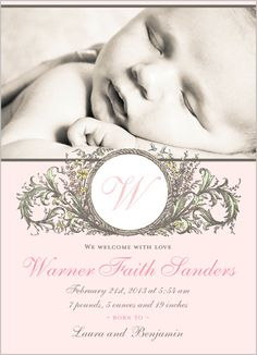 Antique Welcome Girl Birth Announcement